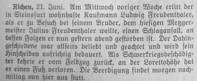 Obituary for Ludwig Freudenthaler in the Eppinger Zeitung