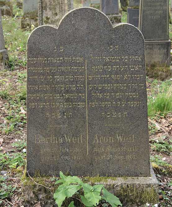 Headstone for Aron Weil and Bertha Edesheimer on the Waibstadt cemetry